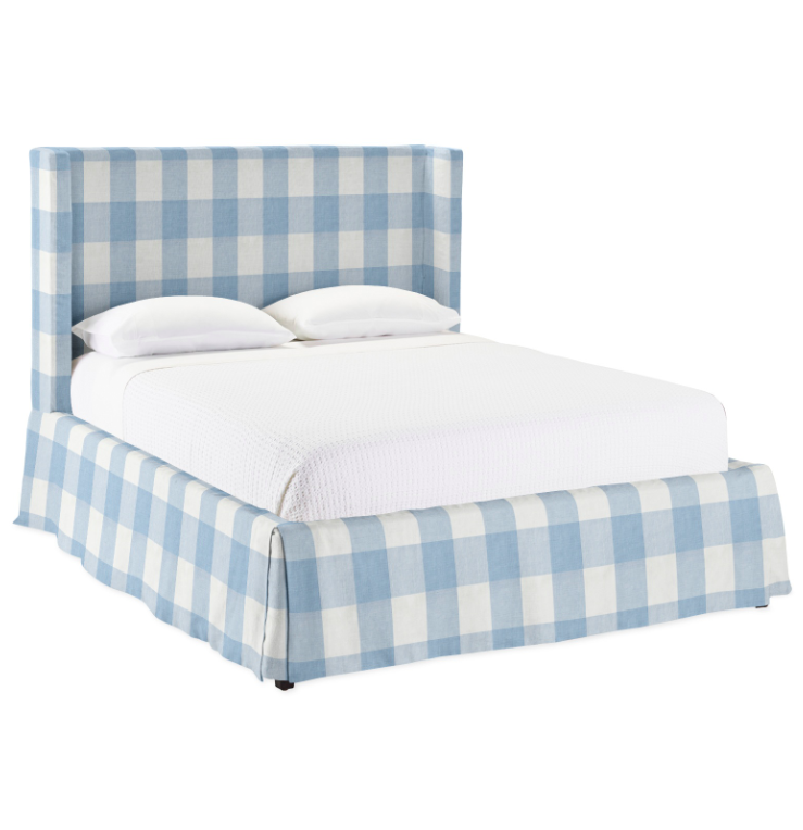 Gingham Slipcovered Bed Blue and White Upholstered