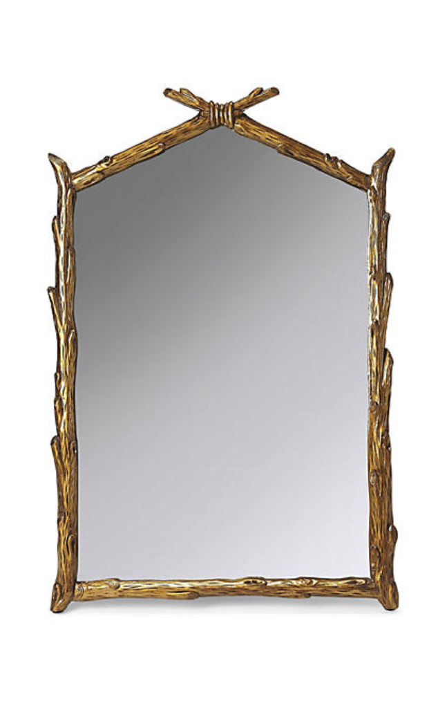 Rectangular Tree Branch Faux Bois Mirror Gold