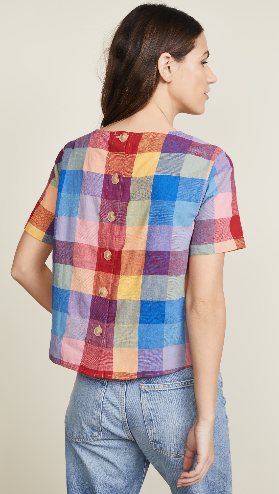 Button Back Plaid Tee