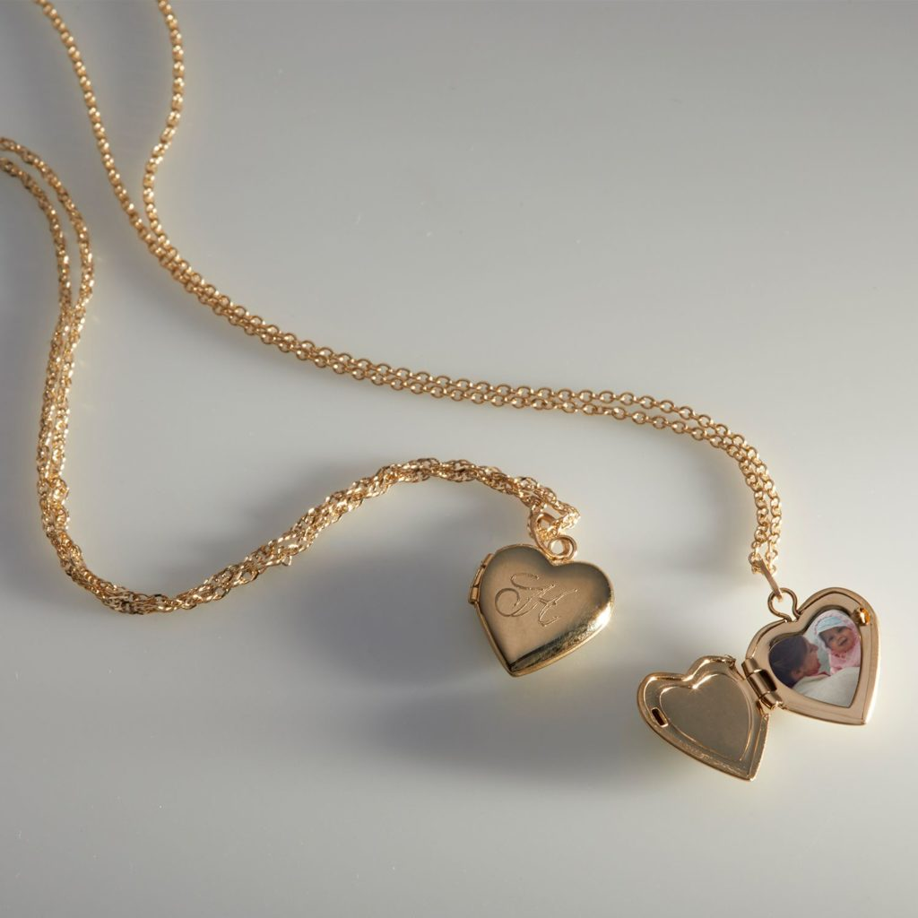 Gold Heart Locket Engraved Initial