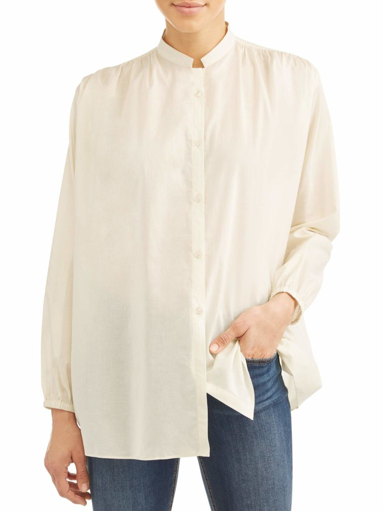Collarless Button-Front Blouse