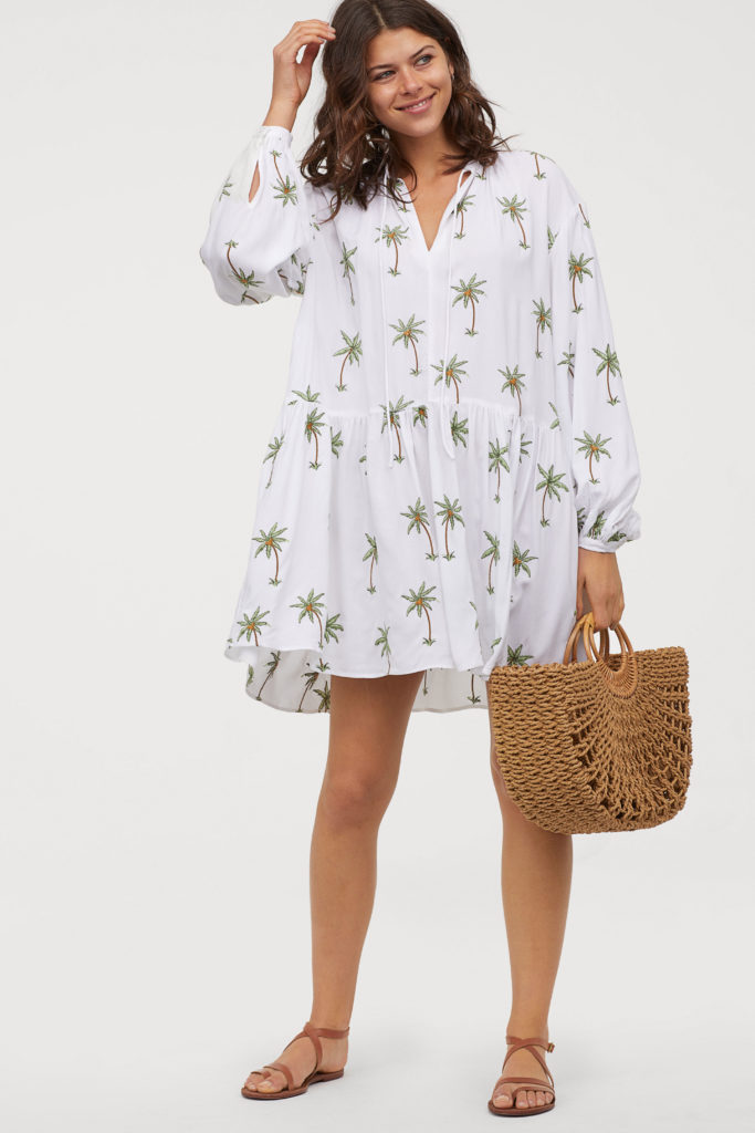 Embroidered Palm Tree Dress