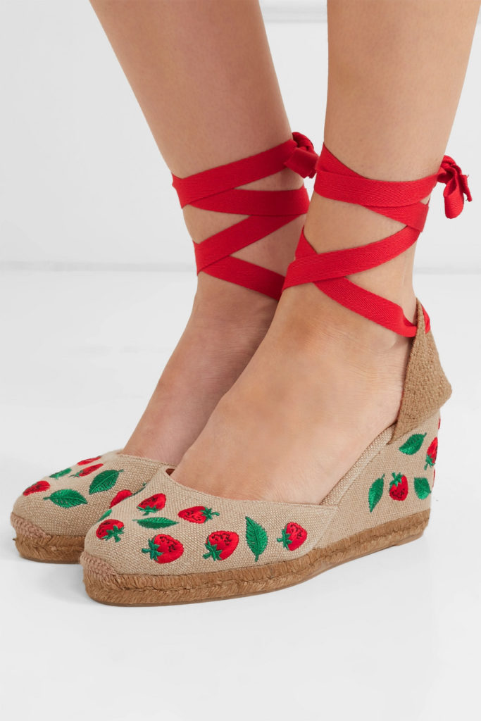 Embroidered Espadrilles Wedges