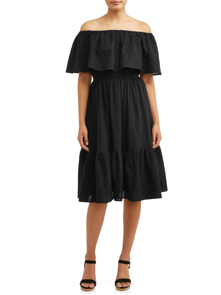 Eyelet Embroidered Off the Shoulder Midi Dress Black