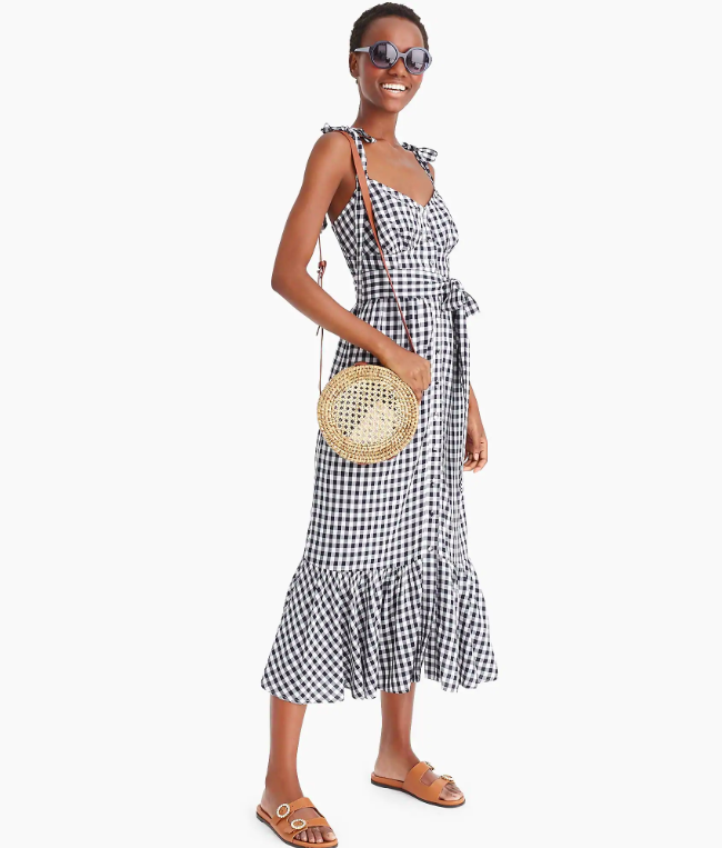 Gingham Ruffle Front Midi Dress Ruffle Hem