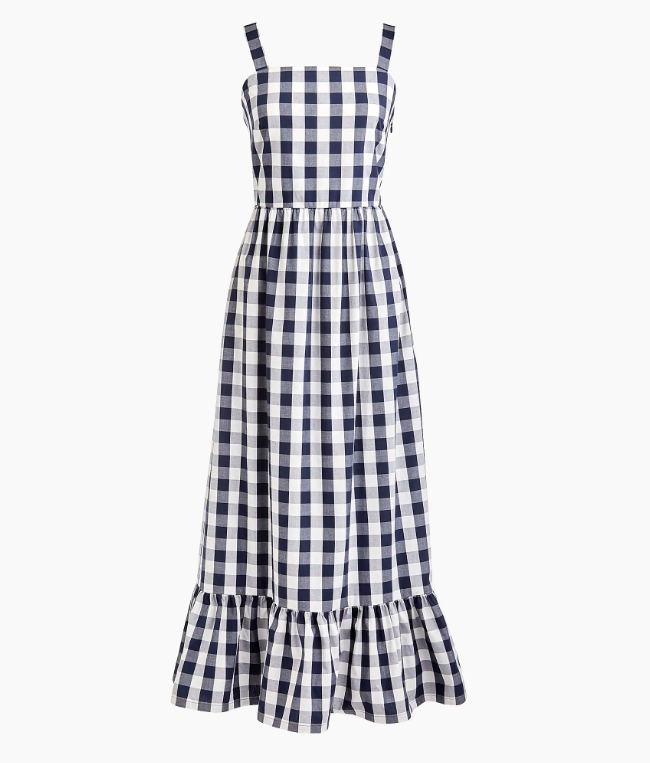 Gingham Navy Blue and White Maxi Dress