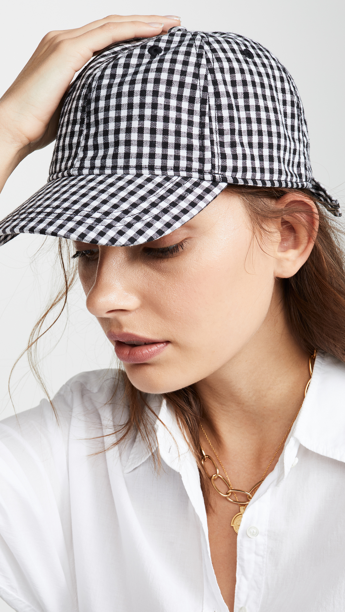Gingham Tie Back Baseball Cap Black and White