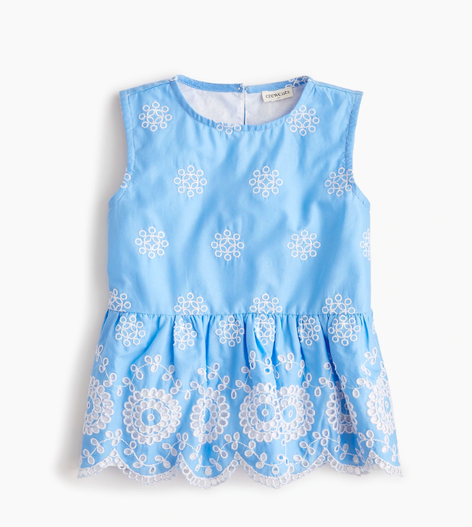 Girls' Scalloped Eyelet Ruffle Top