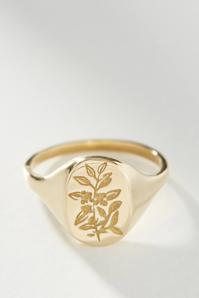 Gold Flower Signet Ring