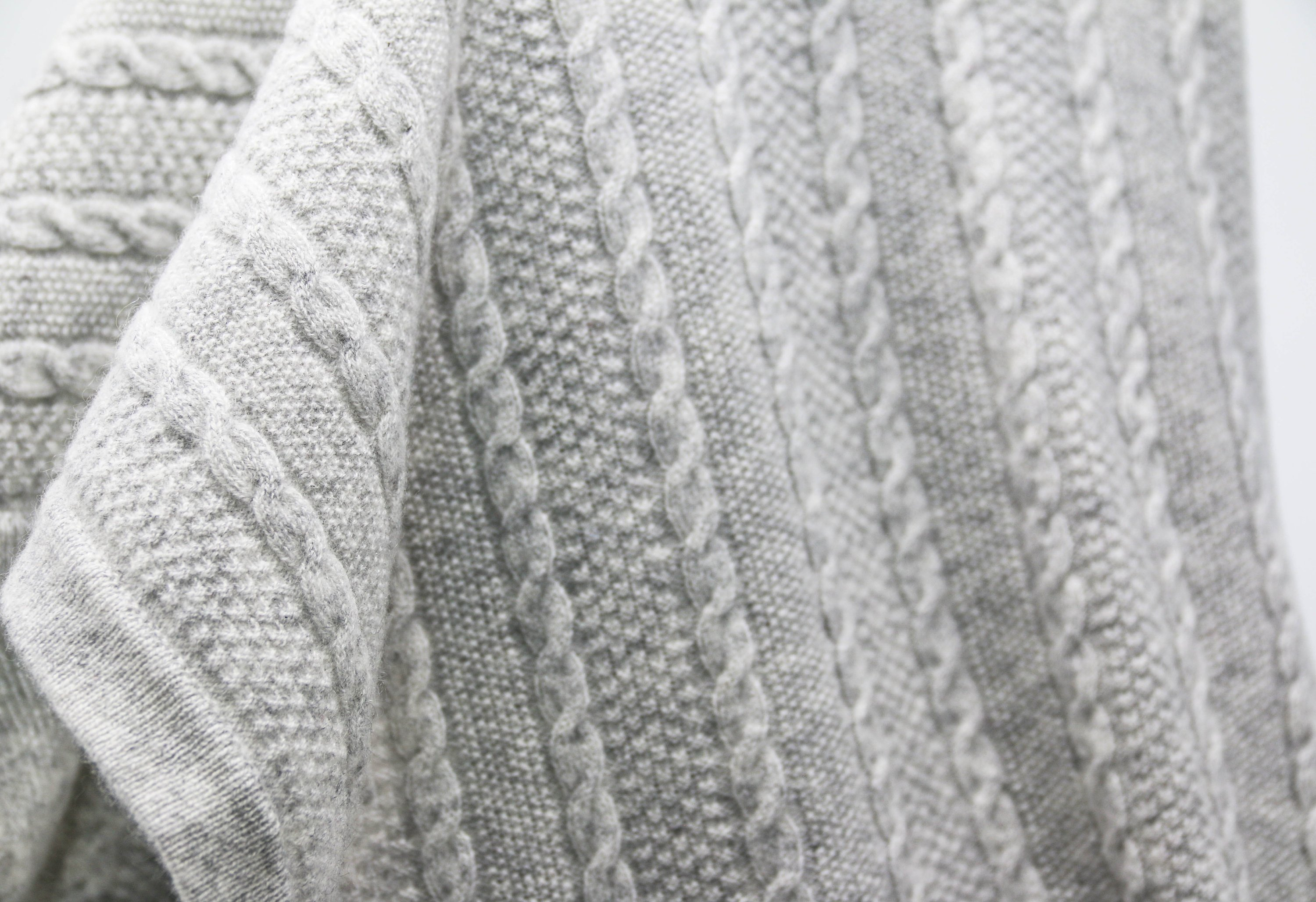 Grey Cashmere Cable Knit Baby Blanket Katie Considers
