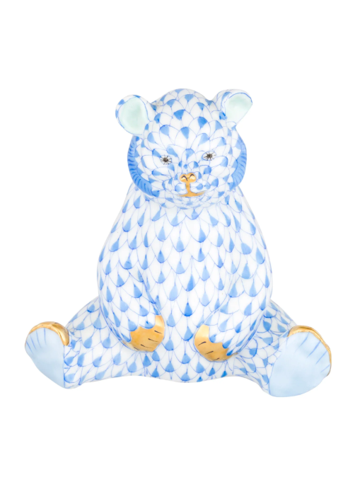 Herend Baby Bear Blue Sitting Figurine