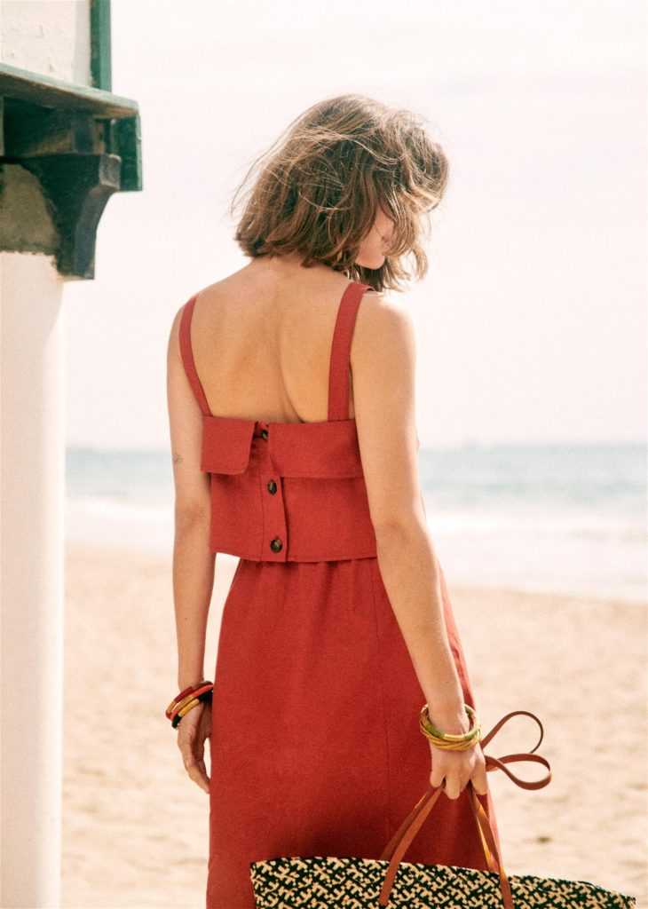 Isabella Dress Sezane Red Buttons
