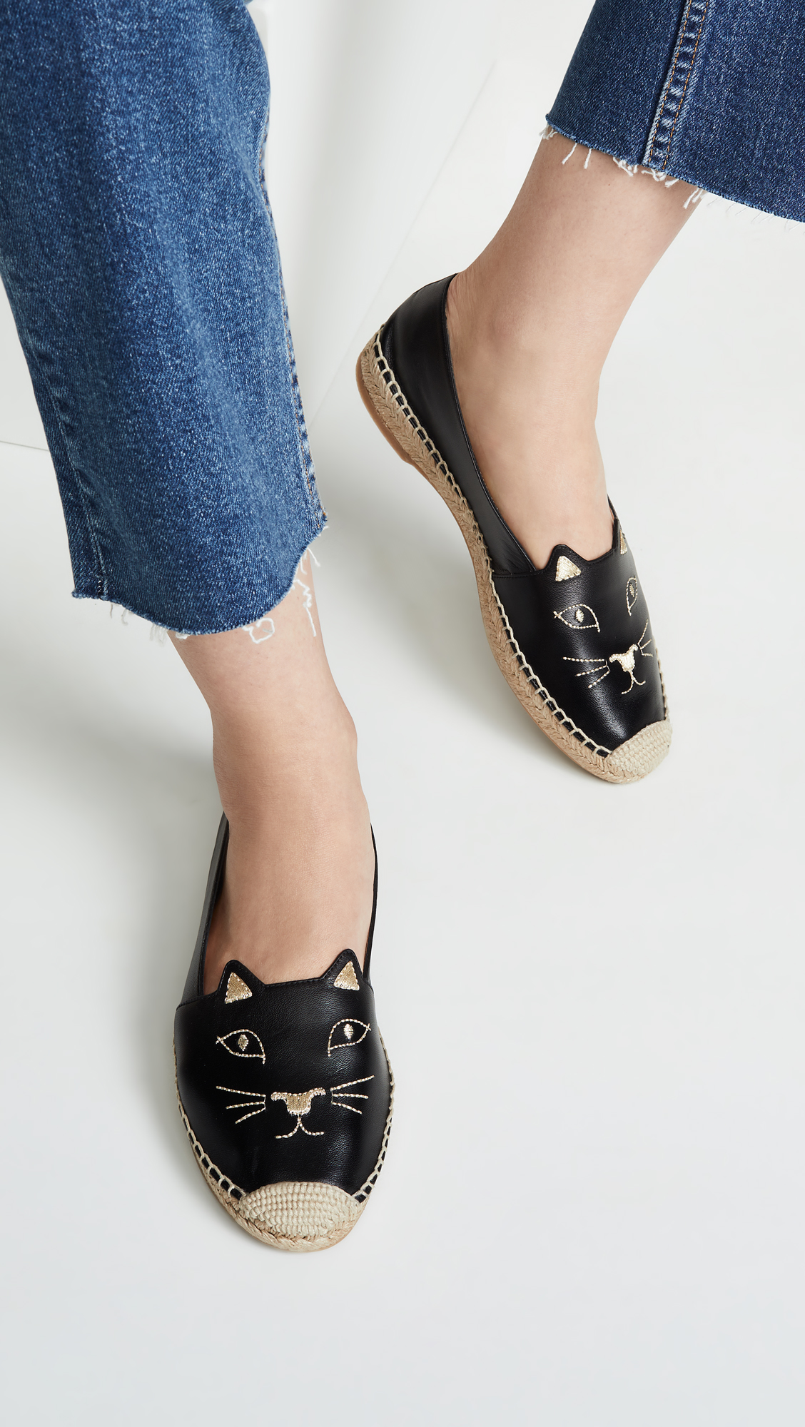 Kitty Cat Black Leather Espadrilles