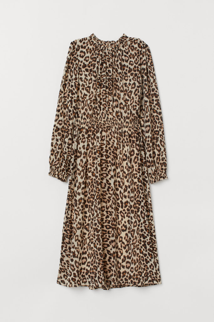 Leopard Print Midi Dress Long Sleeve Chiffon