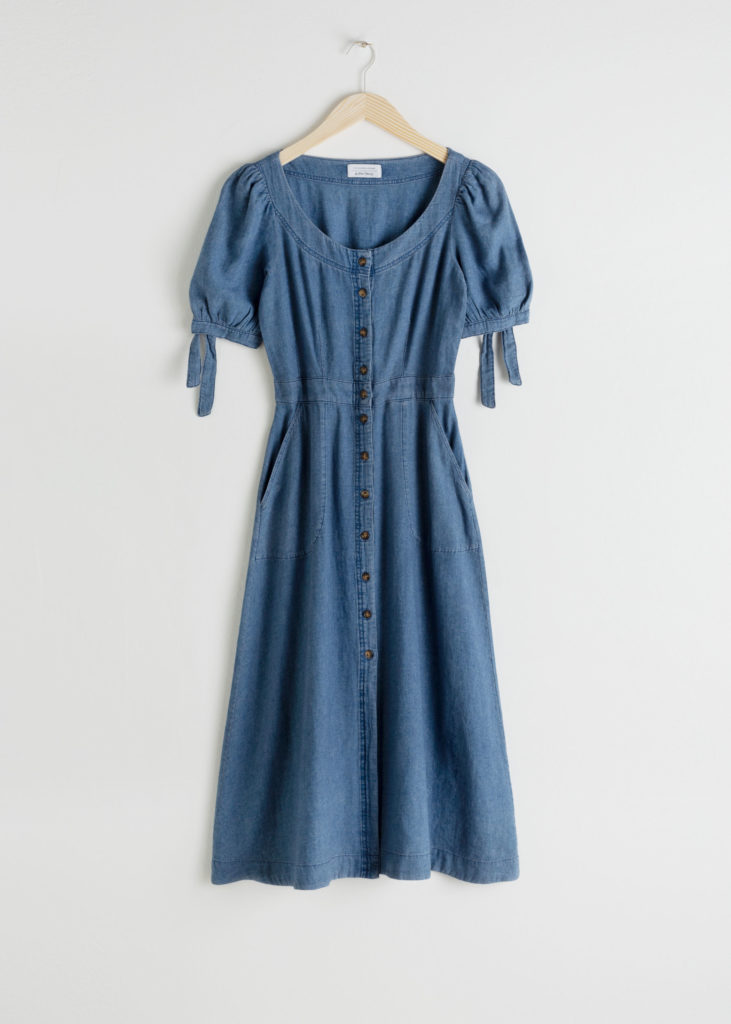 Linen Blend Denim Midi Dress