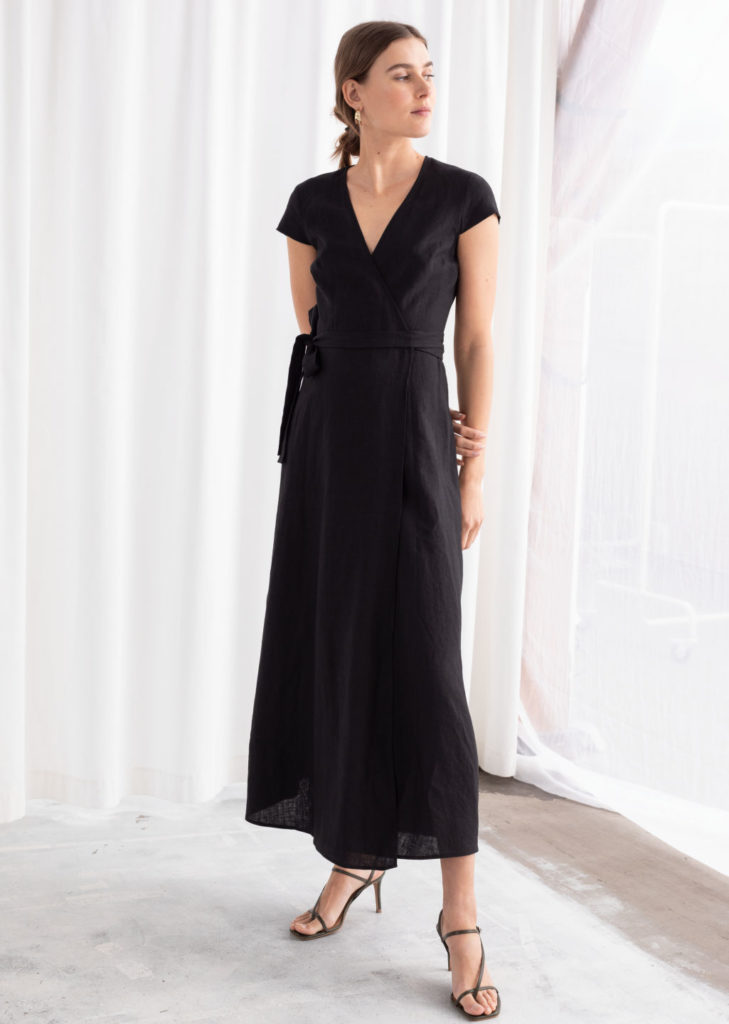 Black Linen Midi Wrap Dress