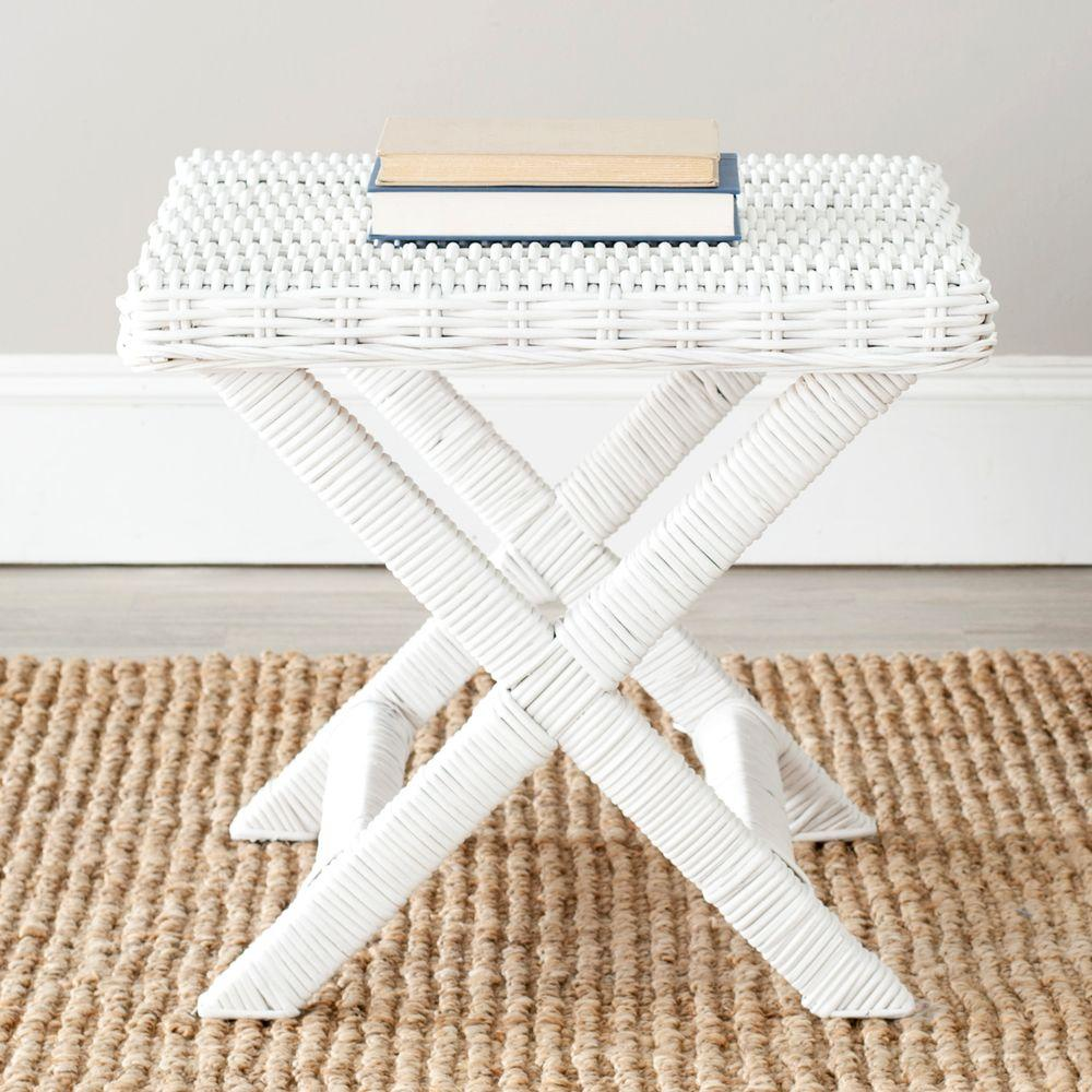Manor White Bench Wicker Woven
