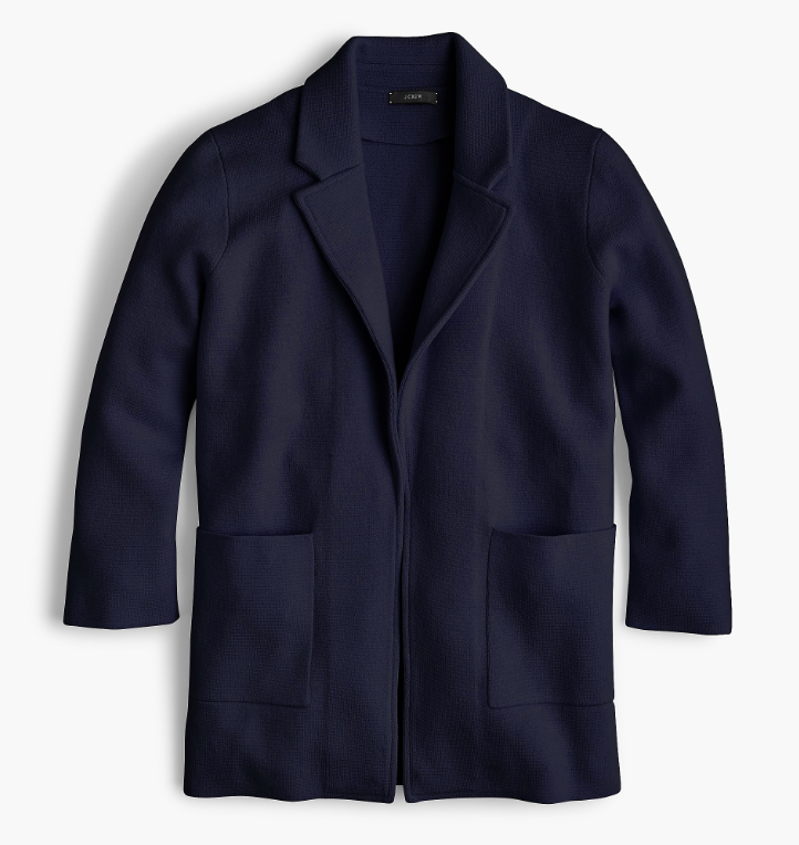 Navy Blue Open Front Sweater Blazer
