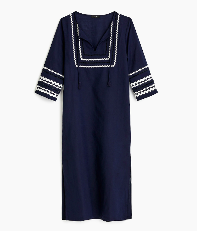 Navy Blue Rickrack Beach Tunic Dress