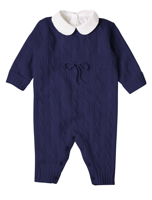 Navy Blue Cashmere Cable Knit Coverall