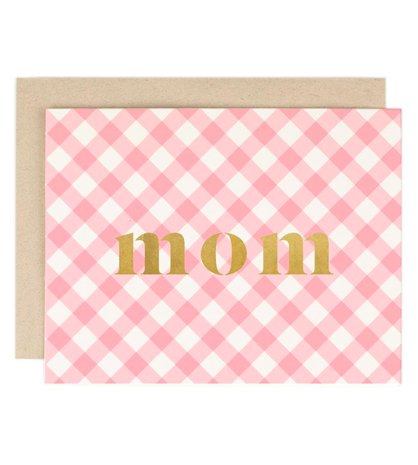 Pink Gingham Plaid Mother's Day Greeting Card for Mom