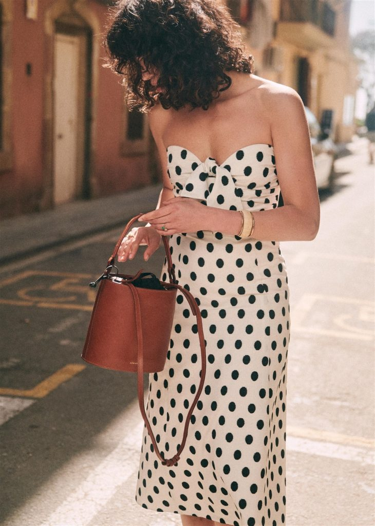 Polka Dot Strapless Dress