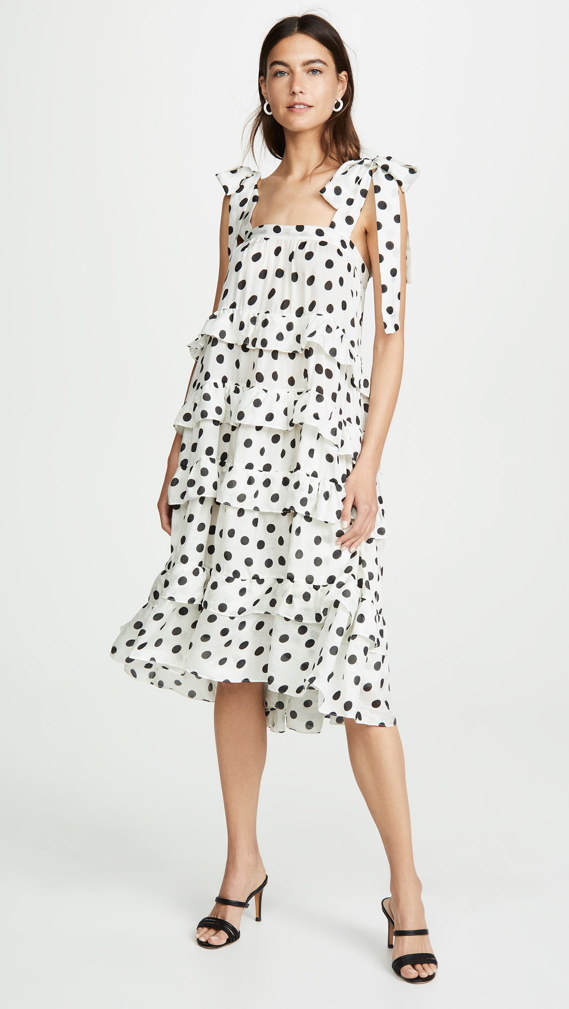 Polka Dot Ruffled Dress with Bows Black and White Tiered Satin