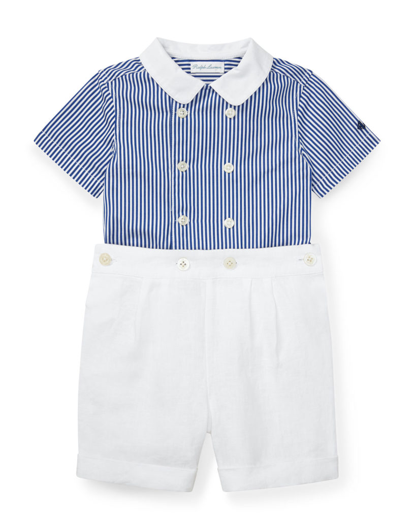 Striped Shirt with Pleated Shorts