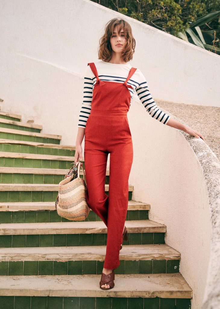 Red Rosalie Overalls with Striped Shirt