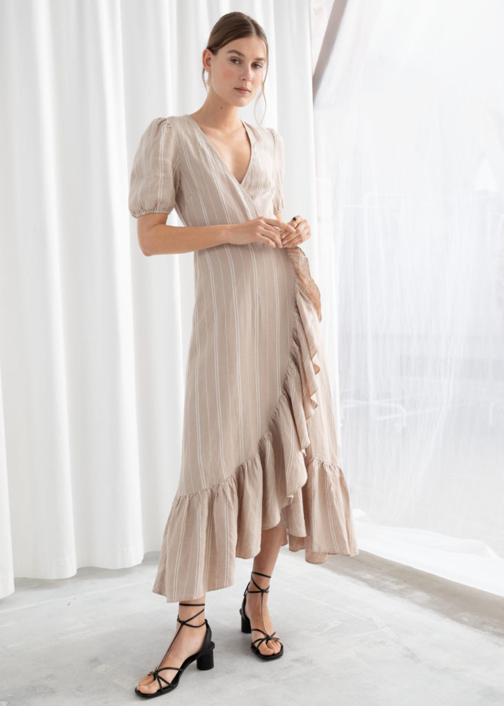 Ruffled Linen Stripe Wrap Midi Dress