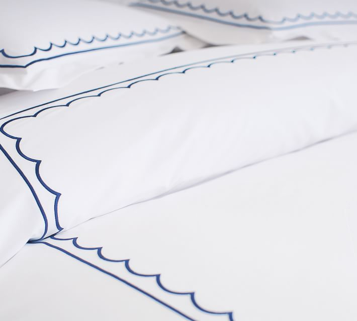 Scallop Embroidered Duvet Cover and Shams