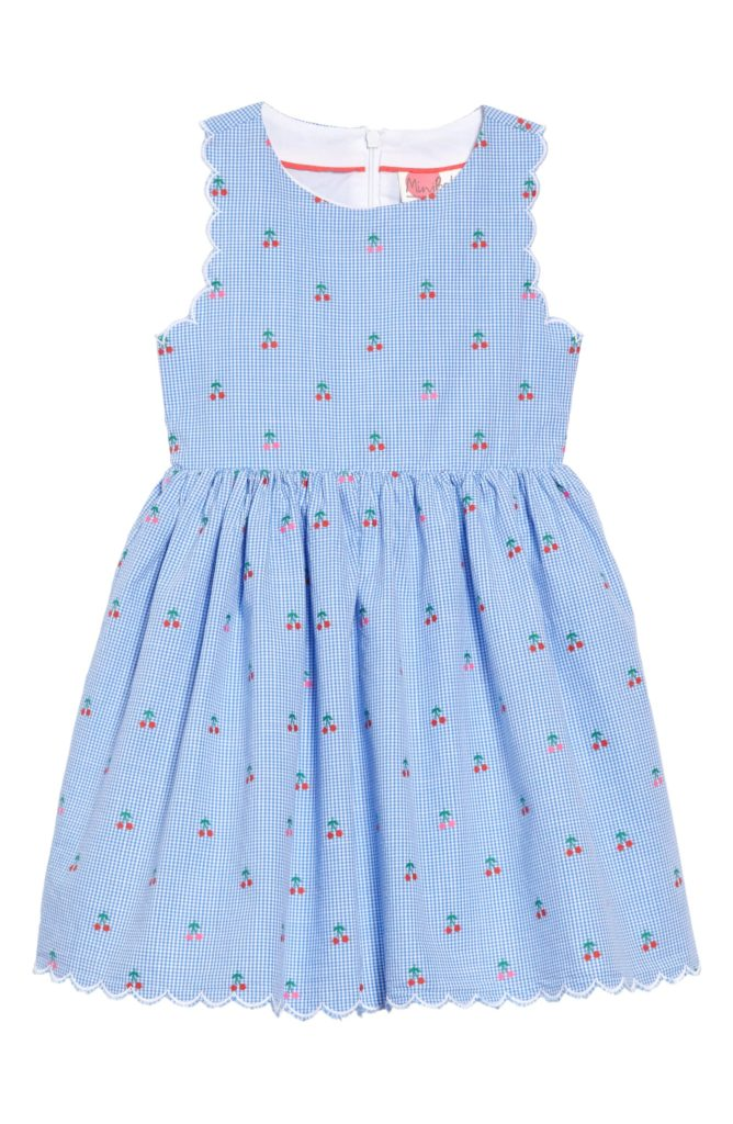 Scallop Edge Gingham Cherry Print Blue Dress Girls' Toddler