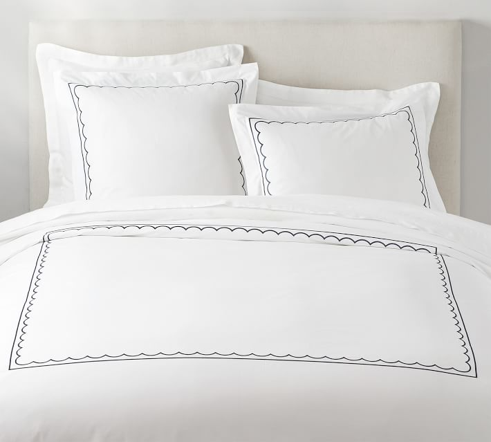 Scallop Embroidered Duvet Cover Euro Shams