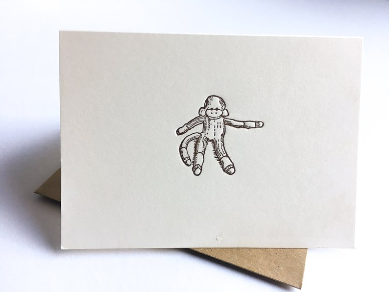 Sock Monkey Letterpress Stationery Cards Baby