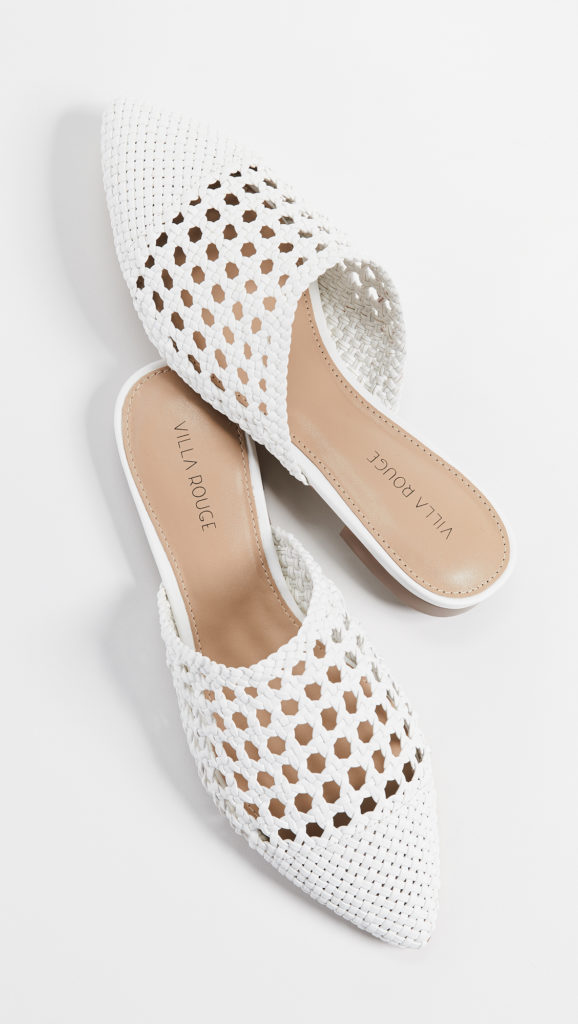 Woven White Mules