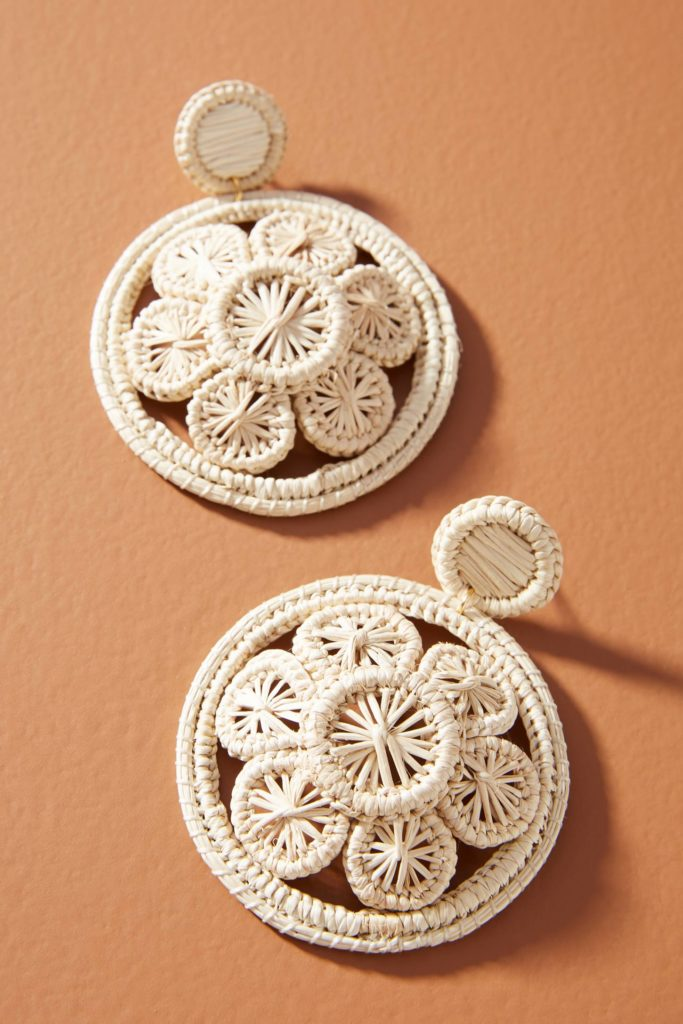 Straw Flower Drop Earrings