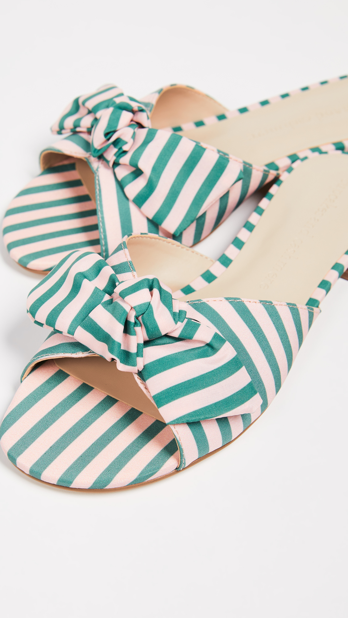 Stripe Bow Slides Pink and Green