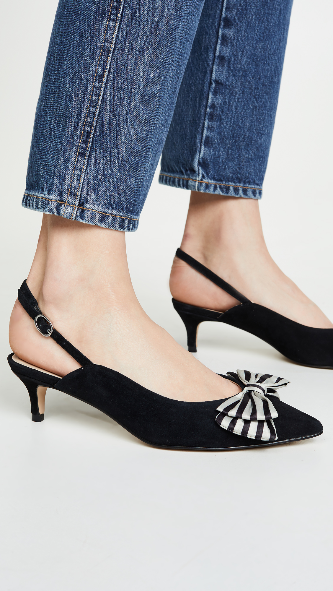 Stripe Bow Slingbacks