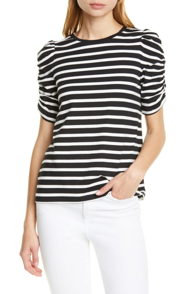 Stripe Ruched Sleeve Tee