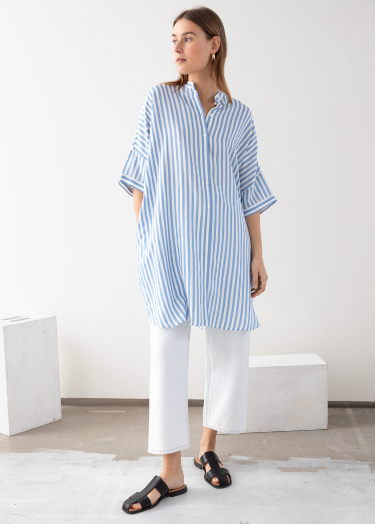 Striped Oversize Shirt Dress