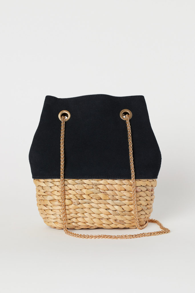 Suede Woven Straw Bucket Bag