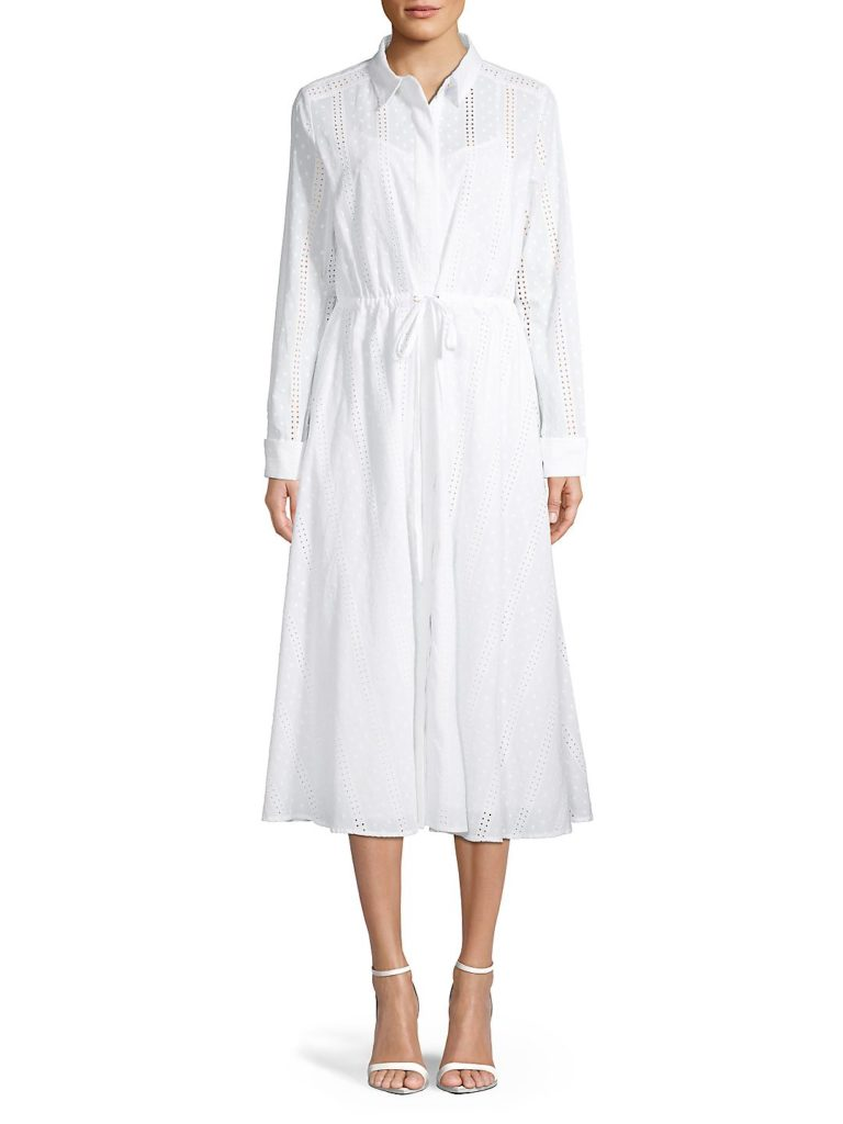 White Eyelet Long Sleeve Dress