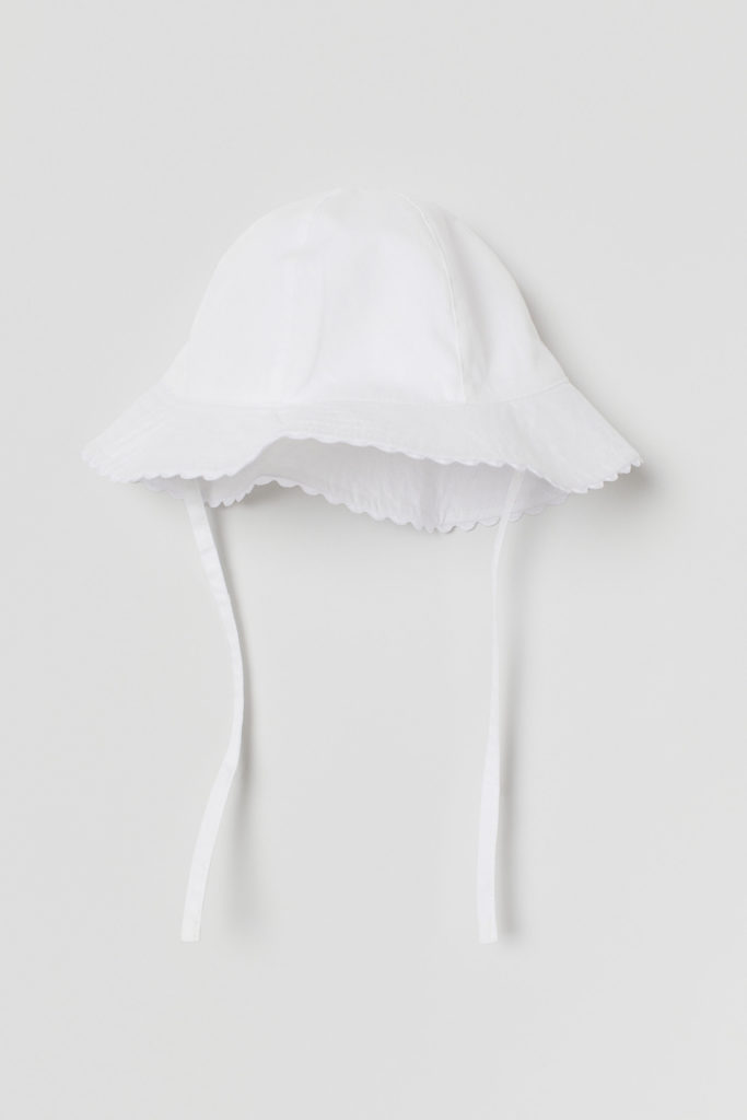 White Scalloped Cotton Baby Girl Sun Hat