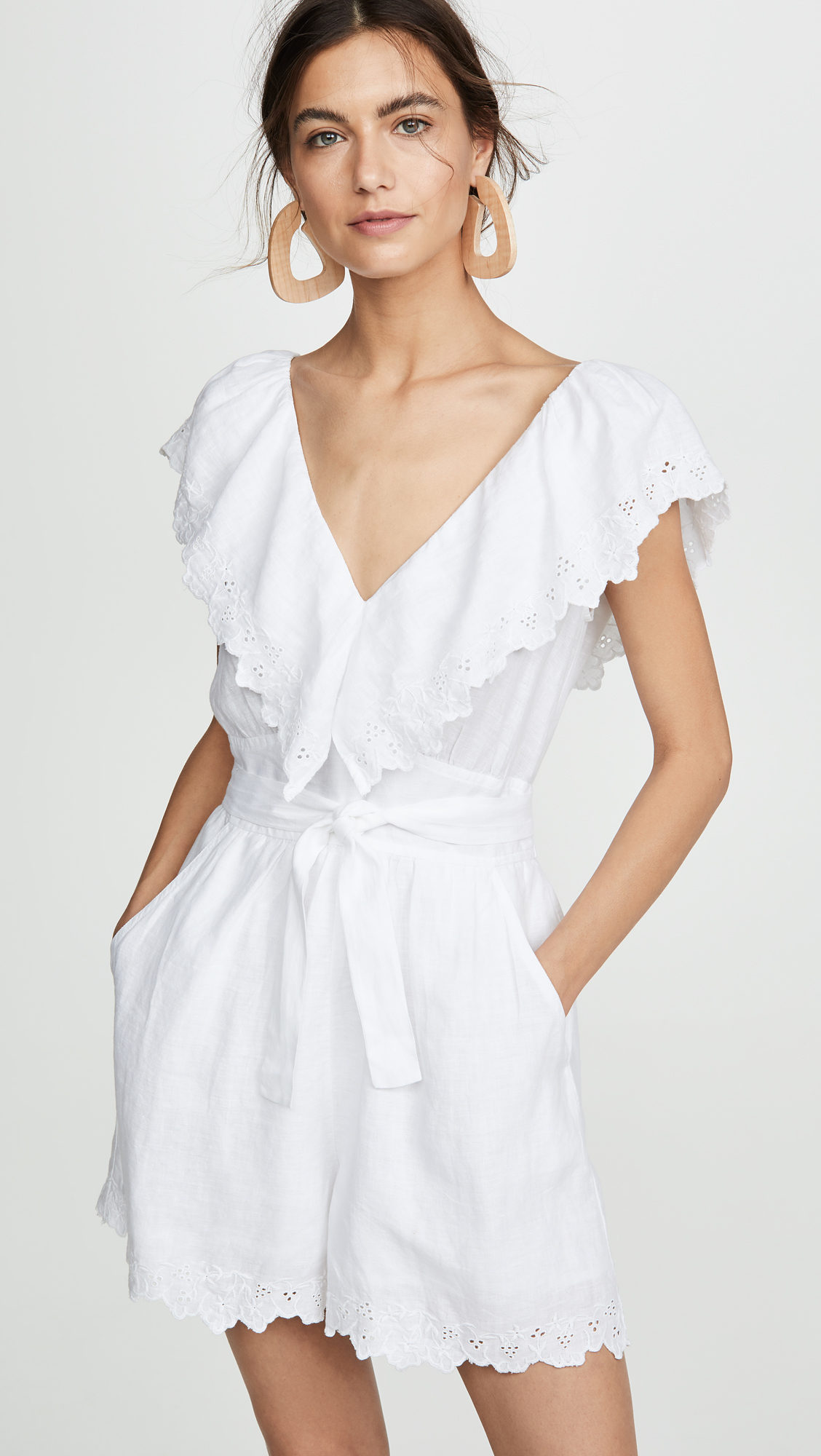 White Sleeveless Embroidery Linen Romper