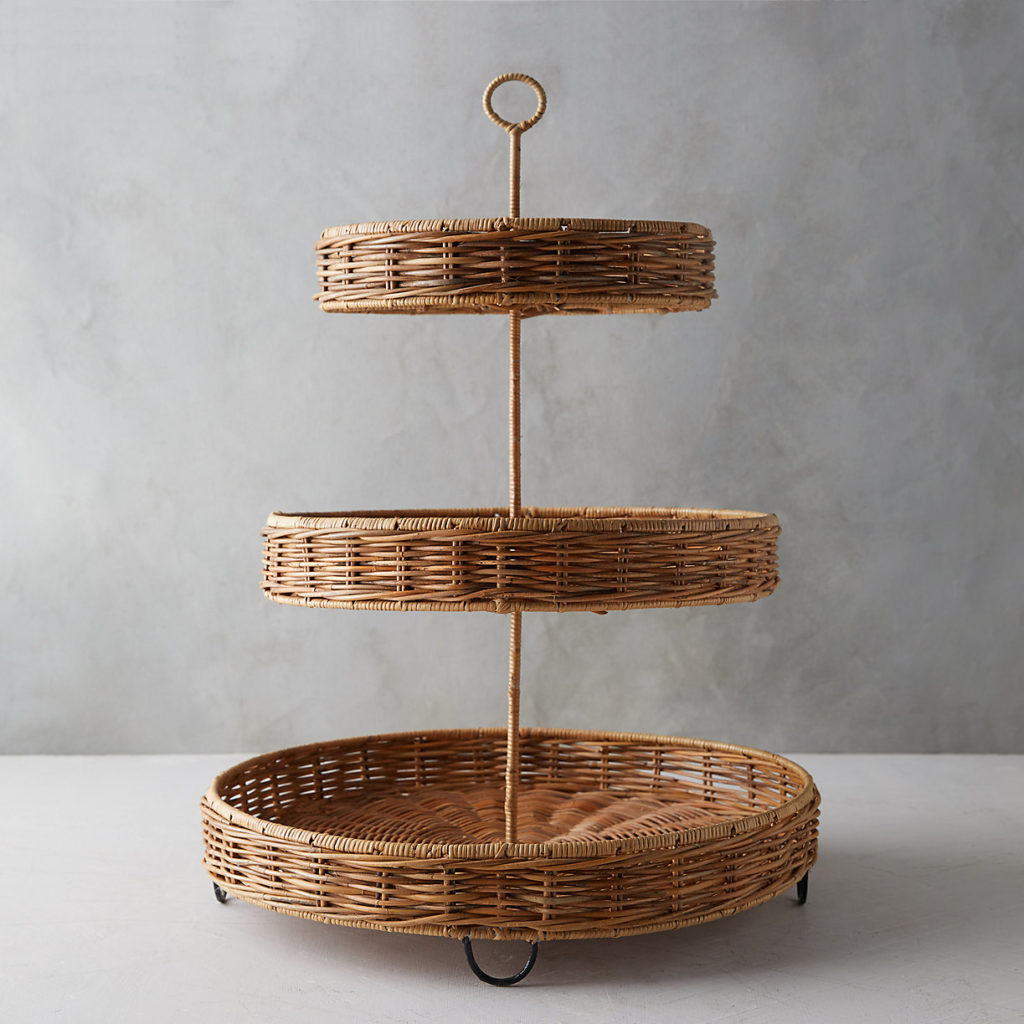 Wicker Tiered Serving Tray