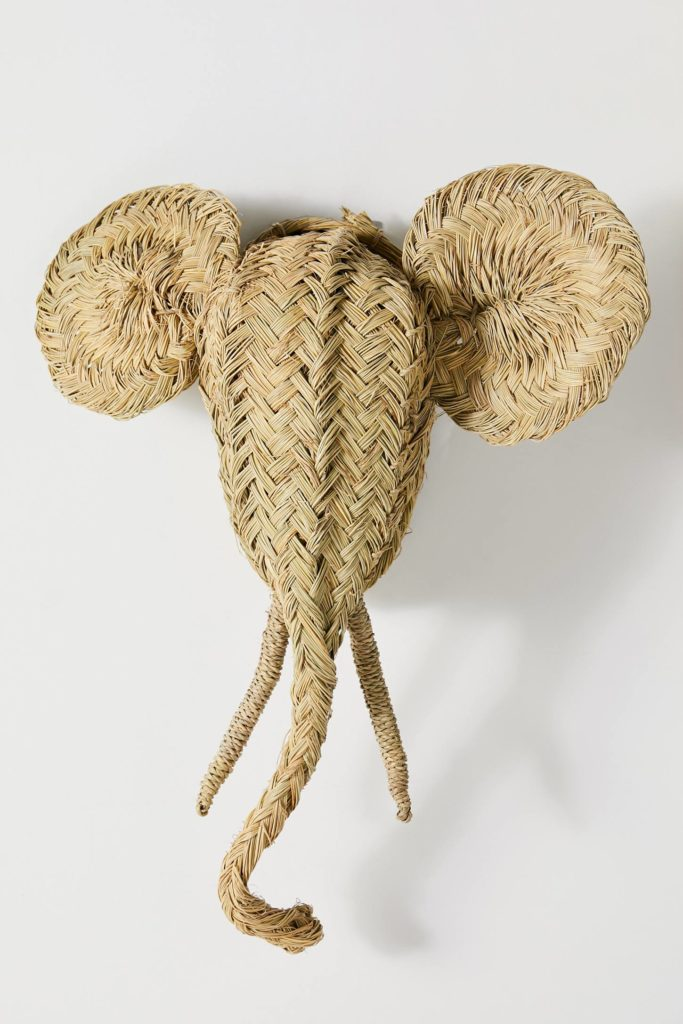 Woven Elephant Bust Nursery Wall Decoration