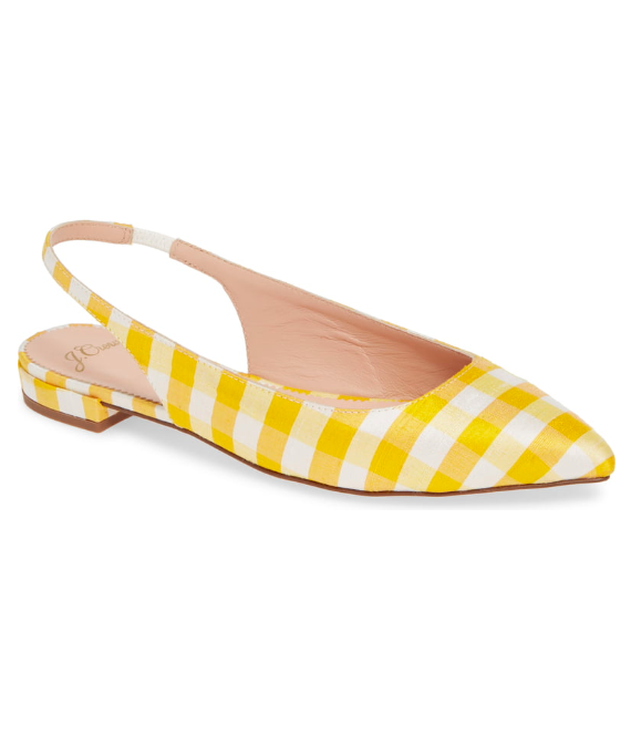Yellow Gingham Slingback Flats