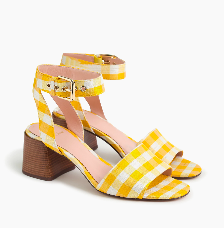 Yellow Gingham Plaid Heels Sandals