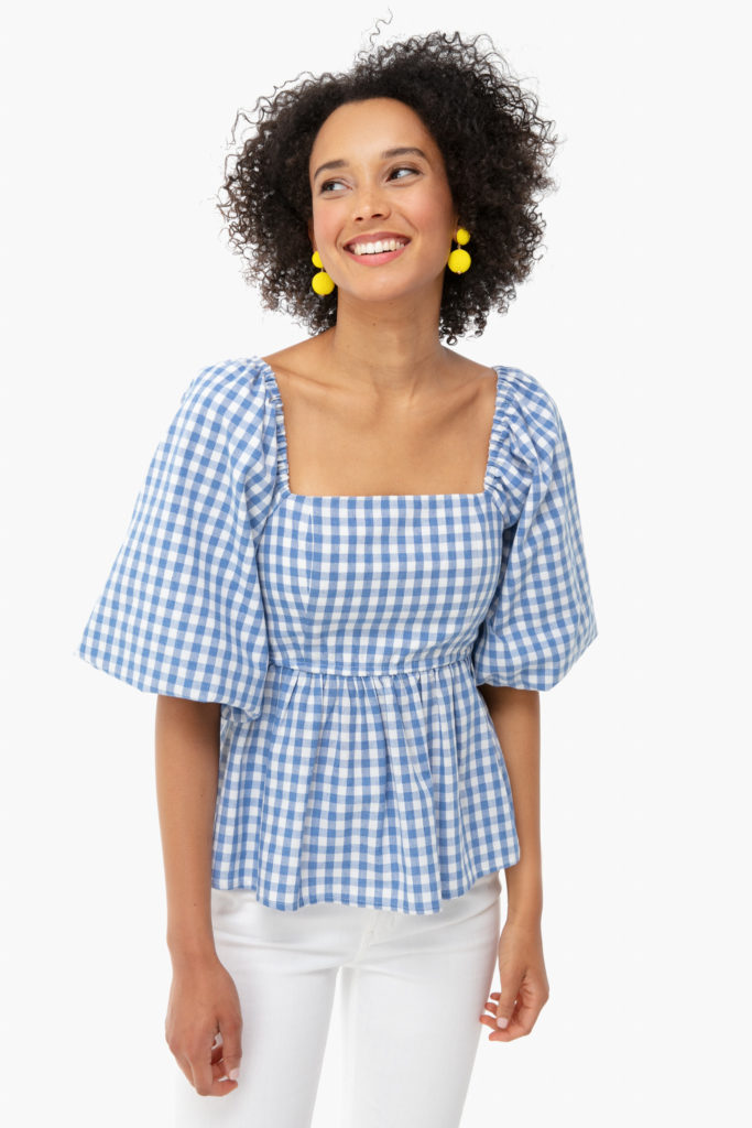 Blue and White Gingham Square Neck Top