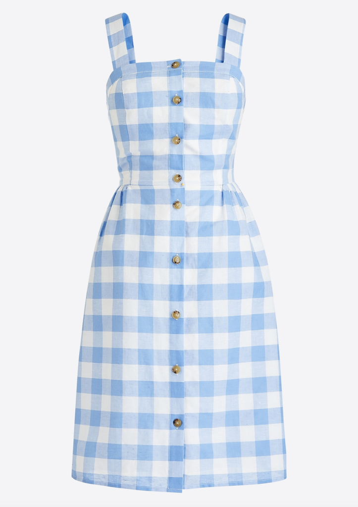 Button Front Gingham Dress